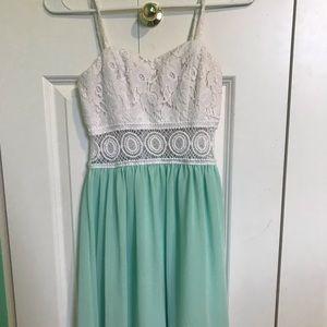 White & mint dress